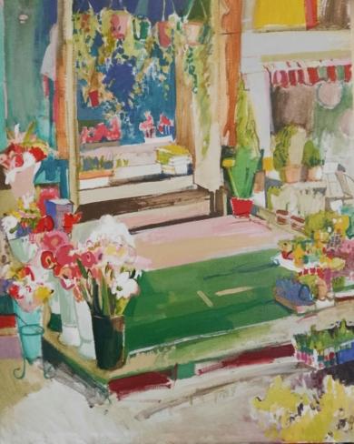 Quiosco de flores I|PinturadeCarlota Rios| Compra arte en Flecha.es
