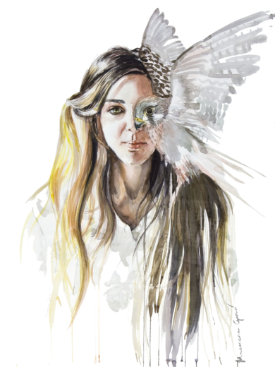 Mujer pájaro / Birdwoman|DibujodeMacarena Garví| Compra arte en Flecha.es