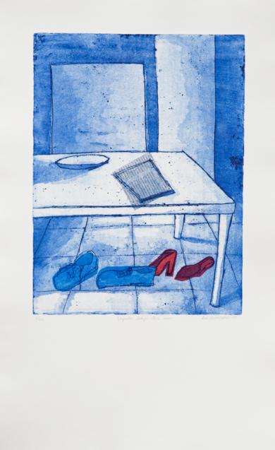 Zapatos debajo de la mesa|Obra gráficadeAna Valenciano| Compra arte en Flecha.es