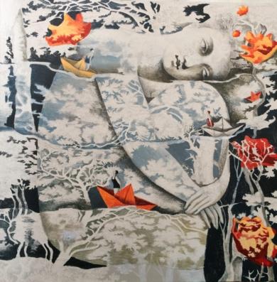 Mujer de agua I|PinturadeMenchu Uroz| Compra arte en Flecha.es