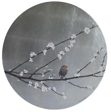 Almendro en flor y petirrojo, redondo|PinturadeCharlotte Adde| Compra arte en Flecha.es