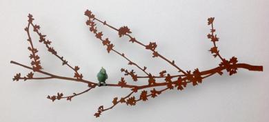 Ramita almendro en flor con pájaro|EsculturadeCharlotte Adde| Compra arte en Flecha.es
