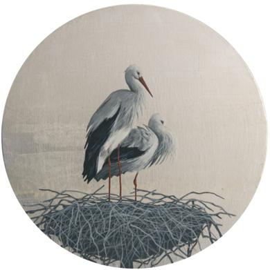 Cigüeñas redondo 6|PinturadeCharlotte Adde| Compra arte en Flecha.es