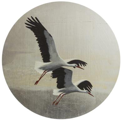 Cigüeñas redondo 2|PinturadeCharlotte Adde| Compra arte en Flecha.es