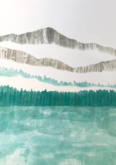Paizaje con lago|PinturadeMilena Mateva| Compra arte en Flecha.es