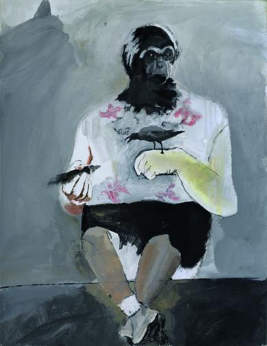 Animales en peligro de extinción  (Gibón femia & gaviota de lava)|PinturadeXosé Vilamoure| Compra arte en Flecha.es