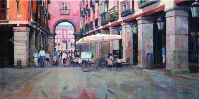 Calle Gerona y Plaza Mayor. Madrid|PinturadeBALSERA| Compra arte en Flecha.es