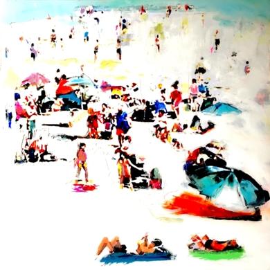 En la playa|CollagedeErika Nolte| Compra arte en Flecha.es