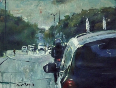 Gente a lo lejos|PinturadeGonzho| Compra arte en Flecha.es