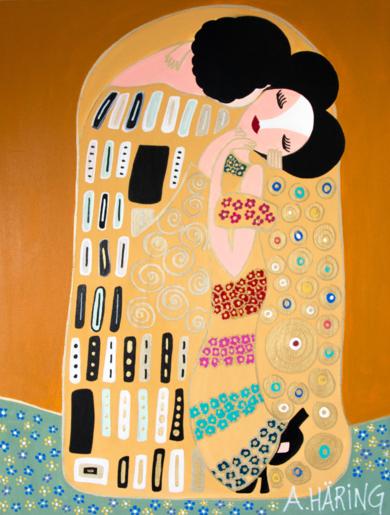 Beso  Matildo|PinturadeÁngela Fernández Häring| Compra arte en Flecha.es