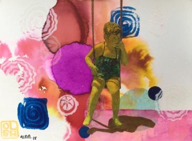 El columpio|CollagedeOlga Moreno Maza| Compra arte en Flecha.es