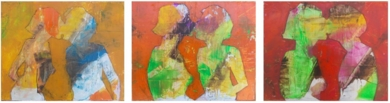 Tres besos|PinturadeFrancisco Santos| Compra arte en Flecha.es