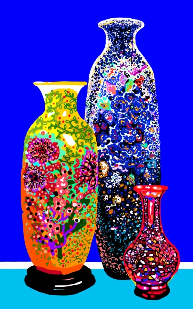 Tres jarrones chinos|DibujodeALEJOS| Compra arte en Flecha.es