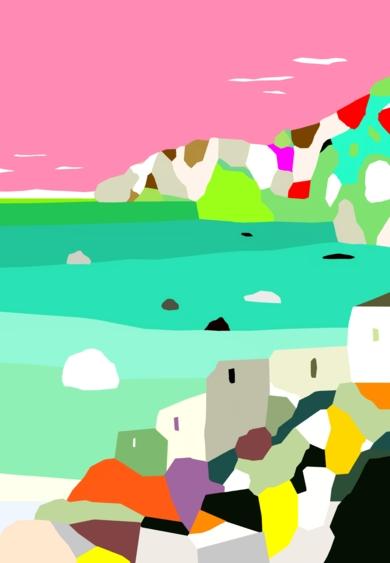 Casas en el Mar Mediterráneo|DibujodeALEJOS| Compra arte en Flecha.es
