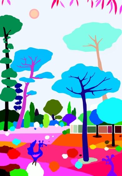 Parque en Cascais|DibujodeALEJOS| Compra arte en Flecha.es