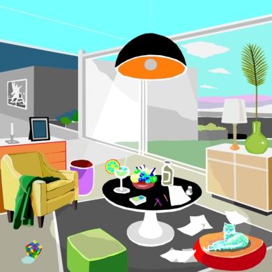 El salón viviente II|DibujodeALEJOS| Compra arte en Flecha.es