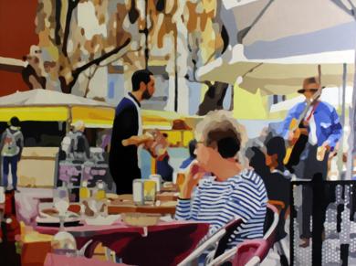 Terraza con músico|PinturadeJose Belloso| Compra arte en Flecha.es