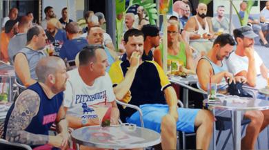 Terraza de Sitges (miradas)|PinturadeJose Belloso| Compra arte en Flecha.es