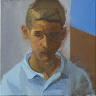 Frontal (azul y ocre)|PinturadeIgnacio Mateos| Compra arte en Flecha.es