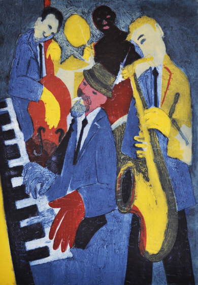 Jazz cuarteto.|Obra gráficadeJenifer Carey| Compra arte en Flecha.es