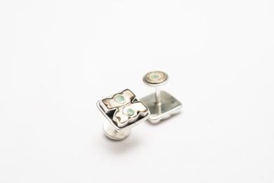 Gemelos de plata 950 y aves de madre perla|JoyeríadeEster Ventura| Compra arte en Flecha.es