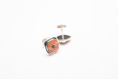 Gemelos de plata 950, concha Spóndylus y turquesa|JoyeríadeEster Ventura| Compra arte en Flecha.es