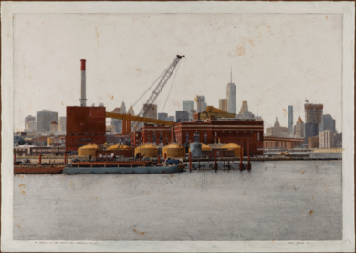 The Vinegar Hill And Lower Manhattan From Brooklyn Navy Yard 60x86|FotografíadeCarlos Arriaga| Compra arte en Flecha.es