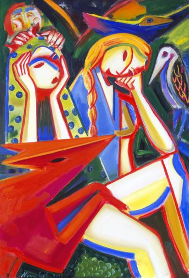 dos chicas, bosque y noche. 2019 expresionismo|PinturadeMaciej Cieśla| Compra arte en Flecha.es