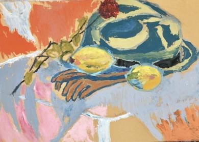 BODEGÓN CON SOMBRERO Y LIMONES|PinturadeIraide Garitaonandia| Compra arte en Flecha.es
