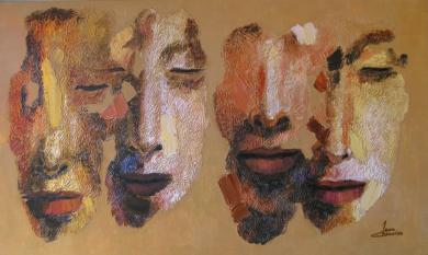 Serie diaspora, Dos parejas|PinturadeJuan Chamizo| Compra arte en Flecha.es
