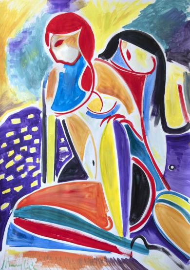 dos mujeres, expresionismo 08 2019|PinturadeMaciej Cieśla| Compra arte en Flecha.es
