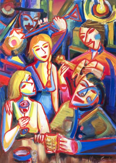 Noche, mujer y música. Expresionismo 08 2019|PinturadeMaciej Cieśla| Compra arte en Flecha.es