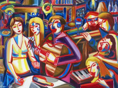 Ciudad, noche, musica y mujeres|PinturadeMaciej Cieśla| Compra arte en Flecha.es