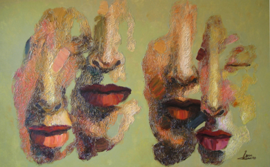 Dos parejas, serie diaspora|PinturadeJuan Chamizo| Compra arte en Flecha.es
