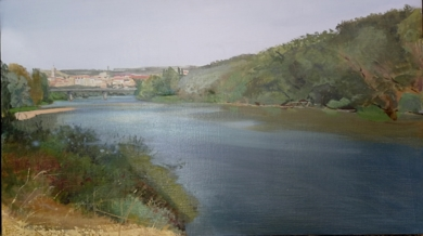 El Duero llegando a Tordesillas|PinturadeIgnacio Mateos| Compra arte en Flecha.es