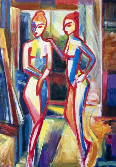 Dos mujeres|PinturadeMaciej Cieśla| Compra arte en Flecha.es