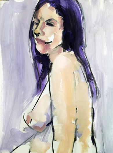 DESNUDO VIOLETA II|PinturadeFRANCISCO ALARCÓN| Compra arte en Flecha.es