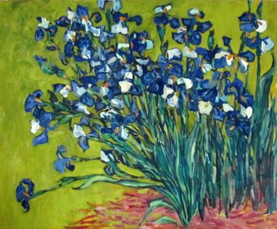Iris sobre amarillo|PinturadeSara Chamón| Compra arte en Flecha.es