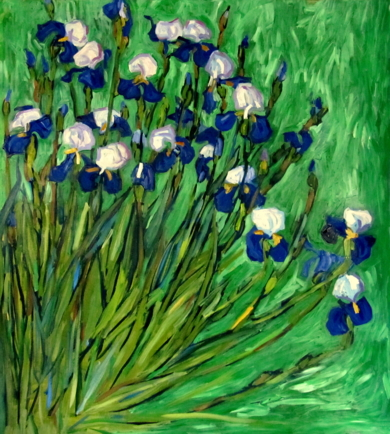 Iris sobre Verde|PinturadeSara Chamón| Compra arte en Flecha.es