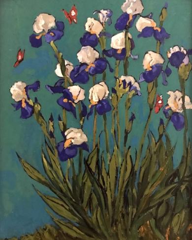 Iris sobre Turquesa|PinturadeSara Chamón| Compra arte en Flecha.es