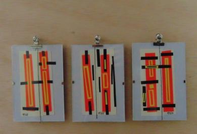 Trío de microvinilgrafias en naranja fluor|CollagedeFabiana Zapata| Compra arte en Flecha.es