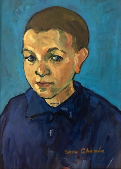 Niño sobre azul|PinturadeSara Chamón| Compra arte en Flecha.es