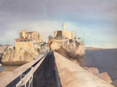 Paseando por el muelle|PinturadeChela Grijelmo| Compra arte en Flecha.es