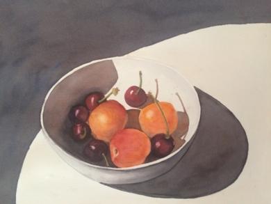 Cerezas y albaricoques|DibujodeChela Grijelmo| Compra arte en Flecha.es