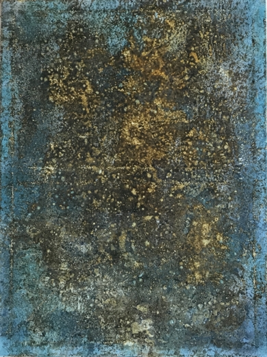 Composición en tonos marrón y turquesa|PinturadeEnric Correa| Compra arte en Flecha.es