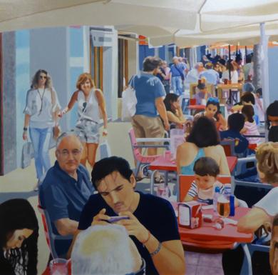 terraza con niño|PinturadeJose Belloso| Compra arte en Flecha.es