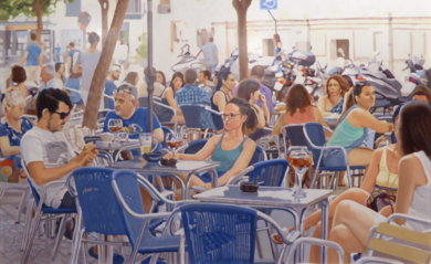 Terraza en azules|PinturadeJose Belloso| Compra arte en Flecha.es