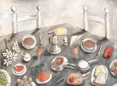 Desayuno mediterráneo con granada|PinturadeLola Barcia Albacar| Compra arte en Flecha.es