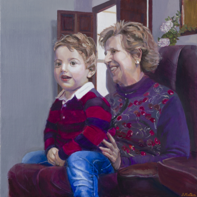 Blanco, azul y rojo sobre gris, violeta, púrpura|PinturadeIgnacio Mateos| Compra arte en Flecha.es