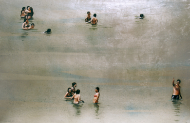 Grupo de bañistas horizontal|DibujodeEnrique González| Compra arte en Flecha.es